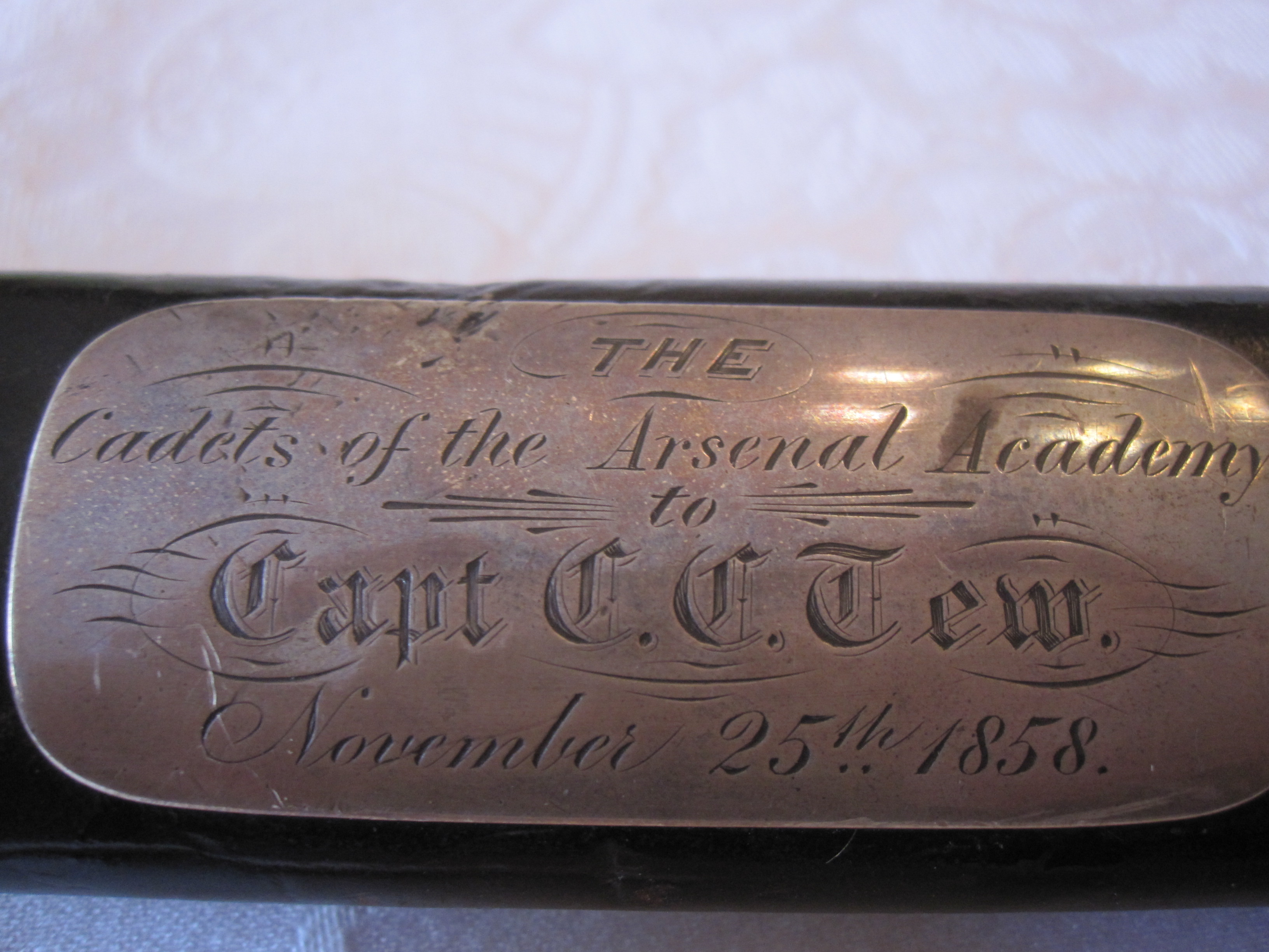 Scabbard Dedication plate